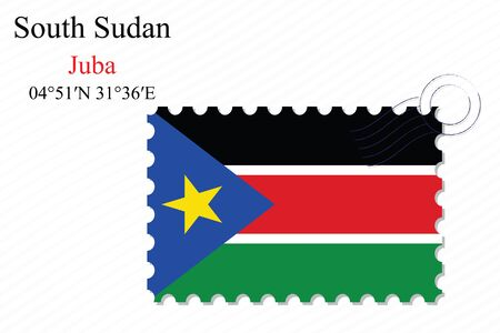 south sudan: south sudan stamp design over stripy background, abstract vector art illustration, image contains transparency Illustration