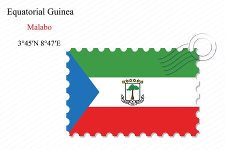 equatorial guinea stamp design over stripy background, abstract vector art illustration, image contains transparency