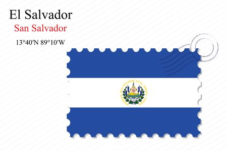 el salvador stamp design over stripy background, abstract vector art illustration, image contains transparency