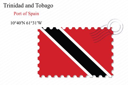 port of spain: trinidad and tobago stamp design over stripy background, abstract vector art illustration, image contains transparency Illustration