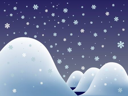 snowy lanscape with lake and hills, abstract vector art illustration