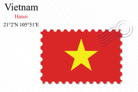 vietnam stamp design over stripy background, abstract vector art illustration, image contains transparency