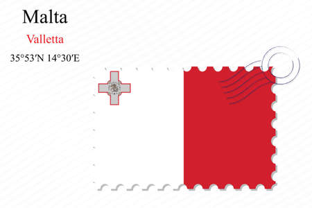 malta stamp design over stripy background, abstract vector art illustration, image contains transparency