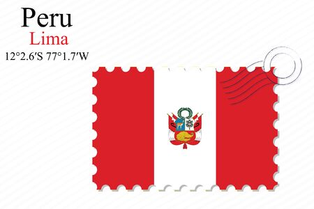 republic of peru: peru stamp design over stripy background, abstract vector art illustration, image contains transparency Illustration