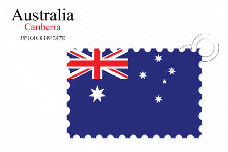 australia stamp: australia stamp design over stripy background, abstract vector art illustration, image contains transparency Illustration