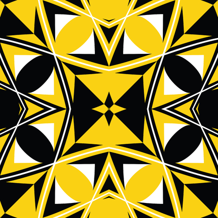 woven: seamless black and yellow texture, abstract pattern, vector art illustration