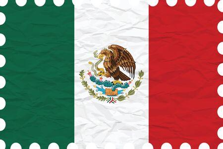 bandera mexicana: papel arrugado Estados Unidos Mexicanos sello, ilustraci�n vectorial de arte, la imagen contiene transparencias