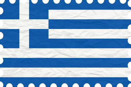 greece stamp: wrinkled paper greece stamp, abstract vector art illustration, image contains transparency Illustration
