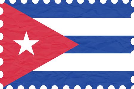 bandera blanca: arrugado papel cuba sello, ilustración de arte vectorial, la imagen contiene transparencias