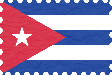 cuba flag: wrinkled paper cuba stamp, abstract vector art illustration, image contains transparency