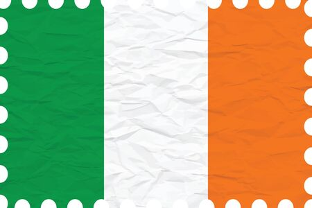 ireland cities: wrinkled paper ireland stamp, abstract vector art illustration, image contains transparency