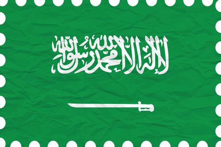 flag icon: wrinkled paper saudi arabia stamp, abstract vector art illustration, image contains transparency