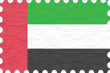 주름이 잡힌 된 종이 아랍 에미리트 우표, 추상적 인 벡터 예술 일러스트 레이 션, 이미지 투명도 포함