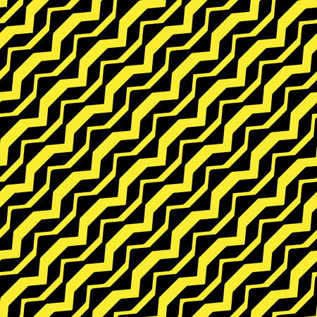 diagonal curved yellow stripes against black background, abstract seamless pattern, vector art illustration Illustration