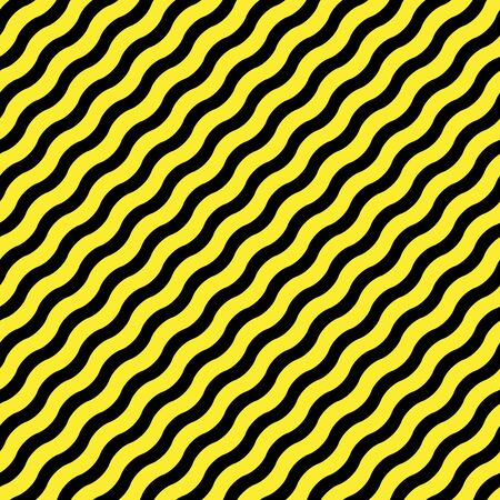 diagonal wavy yellow stripes against black background, abstract seamless pattern, vector art illustration