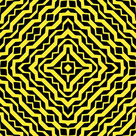 diagonal yellow curved stripes against black background, abstract seamless pattern, vector art illustration Illustration