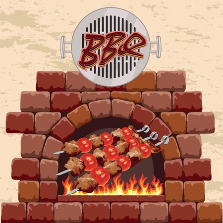 bbq ribs: barbecue in the fireplace.   Illustration