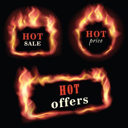 Fire label set.Vector illustration