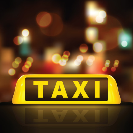 Taxi sign on car roof, on blurred street lighting background Stock Illustratie
