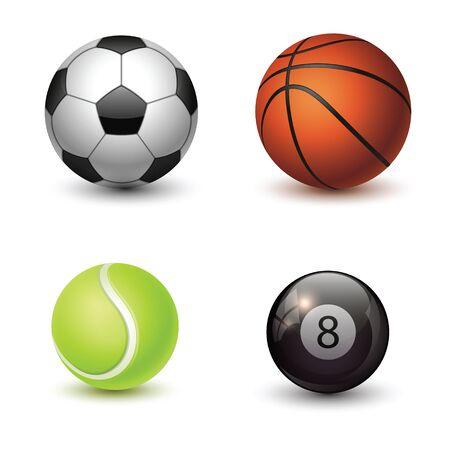 Sportballen geplaatst die op witte achtergrond worden geïsoleerd