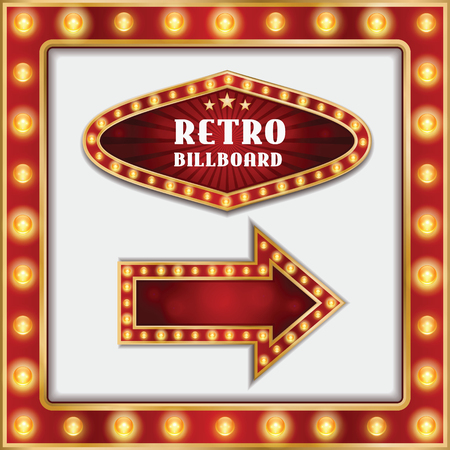 retro billboard and arrow with vintage light bulbs illustration Stock Illustratie