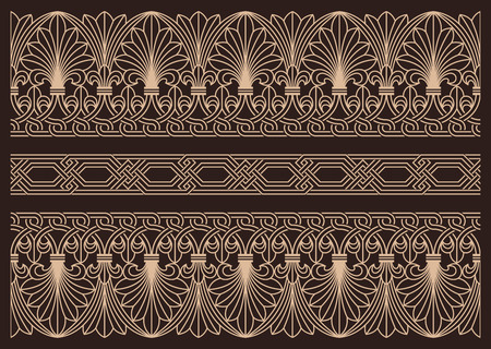 Horizontal seamless ornamental borders, vintage decoraton.Armenian architectural elements Stock Illustratie
