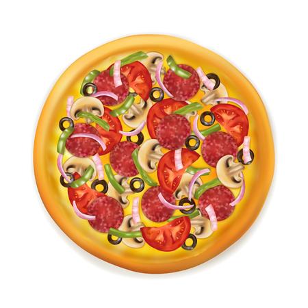 Realistische pizza vectorillustratie geïsoleerd op witte achtergrond