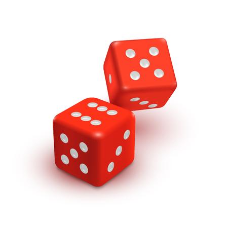 Twee rode dobbelstenen, casino vector pictogram geïsoleerd op een witte achtergrond