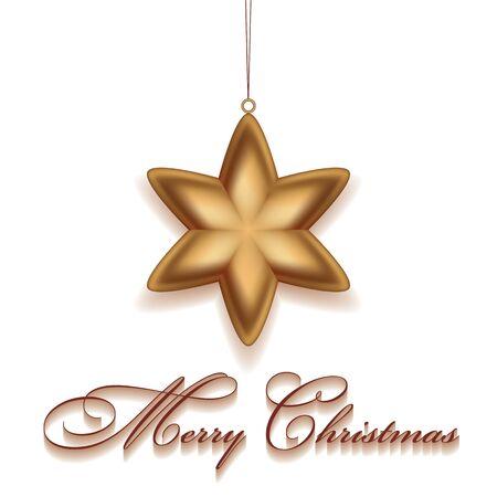 Kerstmis gouden ster. Vrolijke Kerstmis