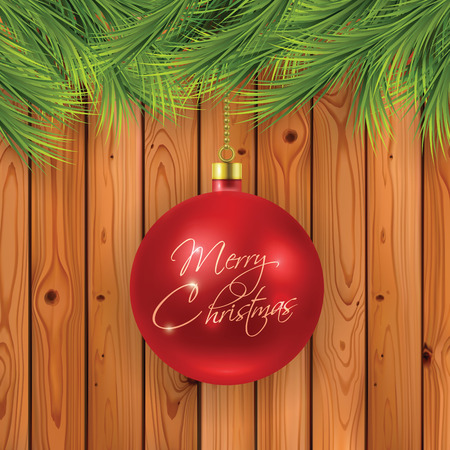 Christmas fir branches with red ball on wooden background Stock Illustratie