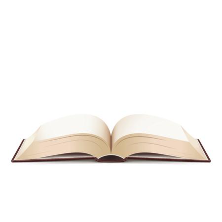Geopend boek met duidelijke pagina's die op witte achtergrond worden geïsoleerd
