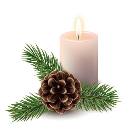 christmas background with burning candle, pine cone and branch