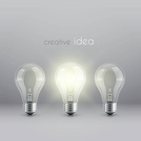 creative idea solution symbol with burning light bulb