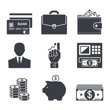 business, money and finance icon vector set