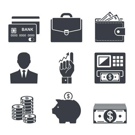 zaken, geld en financiën pictogram vector set