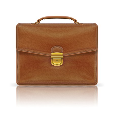 brown leather briefcase isolated on white background Stock Illustratie