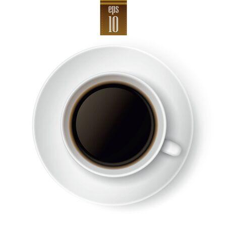 kopje koffie geïsoleerd op een witte achtergrond Stock Illustratie
