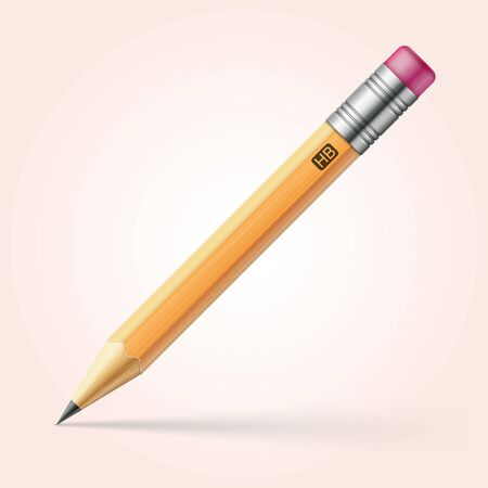 pencil with pink eraser realistic vector illustraion