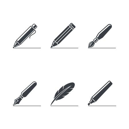 schilderen en het schrijven iconen Stock Illustratie