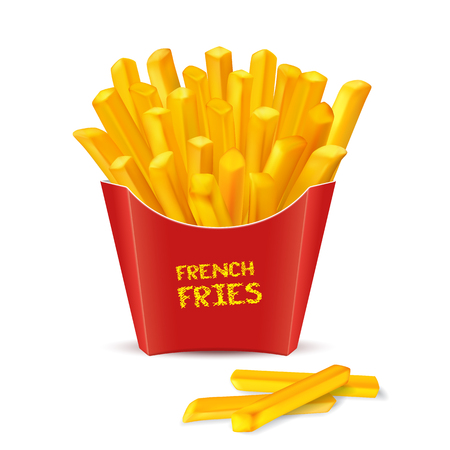 French fries, fast food potato in red paper package.vector illustration