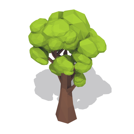 Green tree. Low poly style vector illustration isolated on white background.