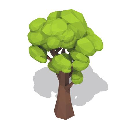 Groene boom. Lage polystijl vectordieillustratie op witte achtergrond wordt geïsoleerd. Stock Illustratie