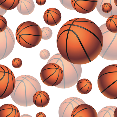 basketbal ballen naadloze patroon achtergrond. Stock Illustratie