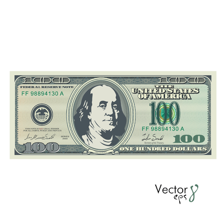 One hundred dollar bill. Eps 8 vector illustration isolated on white background Stock Illustratie