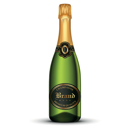 Realistic champagne bottle Eps 10 vector illustration isolated on white background Illusztráció