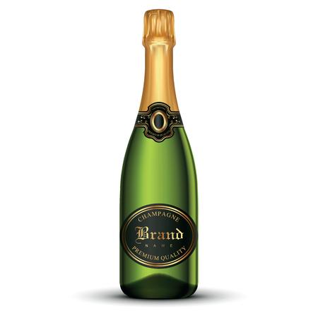 Realistische champagne fles Eps 10 vector illustratie geïsoleerd op een witte achtergrond Stock Illustratie