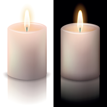 candle on white and black backgrounds