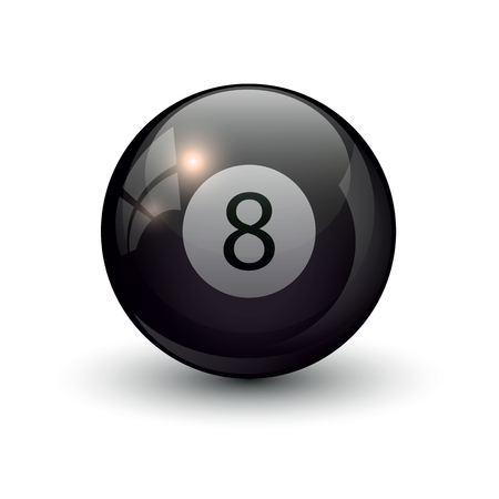 poolbiljart acht bal eps 10 vectorillustratie geïsoleerd op witte achtergrond Stock Illustratie