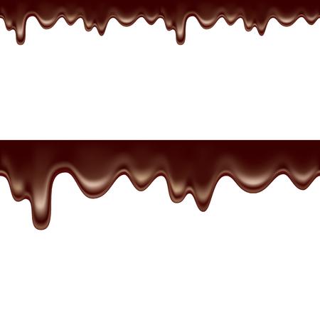 Mealted chocolade horizontale naadloos. vectorillustratie geïsoleerd op een witte achtergrond