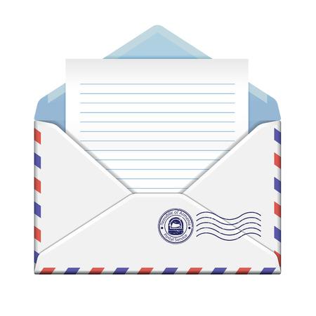 Open envelop met document op witte achtergrond Vector illustratie Stock Illustratie